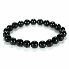 BLACK CARNELIAN MALA 8mm Stone Prayer Bead Wrist Bracelet Genuine Gem Stretch