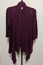 COLDWATER CREEK Open Stitch Long Drape Front Cardigan Sweater Purple XL 18 NEW