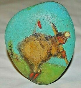Stone Art by Leean of Old Time Baseball Player * Rock Art Painting *  Original