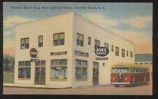 Postcard CAROLINA BEACH North Carolina/NC Nyal Drug Store & Passenger Bus 1930's