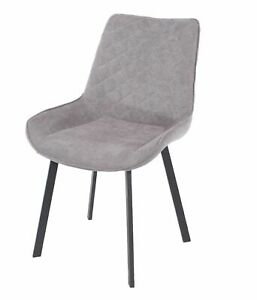 Pair of Grey Fabric Dining Chairs Upholstered Accent Modern Black Metal Legs