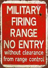 Metal Tin Sign military firing range  no entry Decor Bar Pub Home Vintage Retro