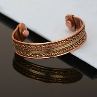 Bracelet Women Cuff Copper Magnetic Pain Relief Arthritis Therapy Healing Bangle