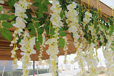 Artificial Silk Wisteria Fake Garden  Flower Plant Vine Wedding Decor  white