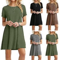 Women Lady Cotton Short Sleeve Casual Blouse Loose Top T-shirt Swing Mini Dress