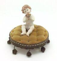 "Naples Porcelain Capodimonte Putto Cherub with Mirror Figurine каподимонтовый 4"""