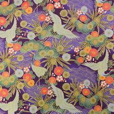 Japonais en tissu de coton 48x55cm FAT QUARTER Pourpre Crane Floral Pin z37