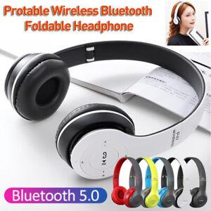 Wireless Bluetooth5.0 Headset Headphones Stereo MP3/MP4 Support TF Card FM Radio