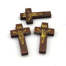 100pcs/lot Printed Jesus Coffee Color Wood Cross Pendant For Necklace DIY
