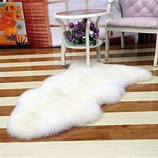 "US Stock 100% Genuine Sheepskin Rug 45x30"" White Ivory Throw Chair Cover NEW TB"