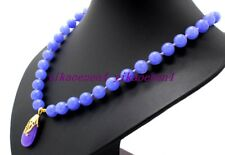 "New Exquisite 8mm Purple Lavender Jade Gemstone Beads Pendant Necklace 18""AA"