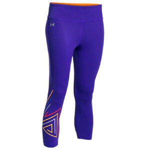 UNDER ARMOUR  FLY-BY 2.0 graphic capri leggings  purple Color Size XS BNWT