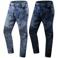 New Men Denim Jeans Slim Fit Biker Ripped Distressed Zippers Knee Sizes 30-44