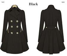 WOMENS Ladies Lapel Stylish Long Parka Coat Trench Outwear Jacket 8-20 WS009