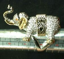 ELEPHANT Bling Ring Silver Gold Rhodium Plated Zirconia Diamond Women's Size 8