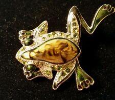 Liz Claiborne Enameled and Rhinestone Studded Frog Brooch