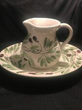 Pier 1 ~ Pitcher Water Basin Italy Hand painted ~ White/Green/Purple Olive PER92