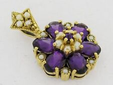 CP115- Genuine 9ct Solid Gold Natural Amethyst & Pearl Blossom Cluster Pendant