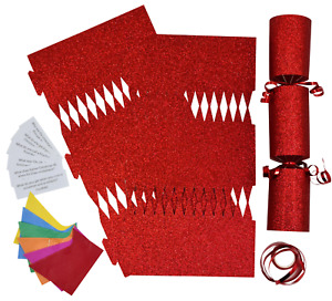 6 Make Your Own Christmas Cracker kit Crackers Hats Snaps RED GLITTER