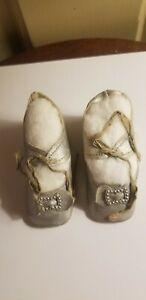 ANTIQUE OIL CLOTH SIZE 7 DOLL SHOES METAL BUCKLES BOWS TIES PAINTED SILVER