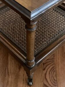 VTG Solid Wood & Rattan Woven Cane Coffee Accent Tiered Side Table With Casters