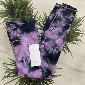 "Lululemon Power Thru tight 25"" tie dye purple grey size 10 New $138"