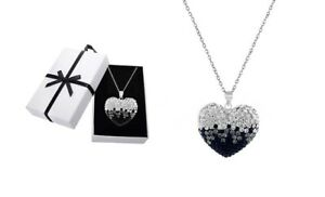 Black and White Bubble Heart Necklace in Sterling Silver made with Swarovski