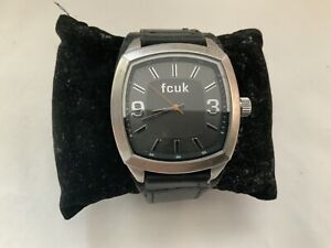 GENTS FCUK LEATHER STRAP ANALOGUE DIAL WRISTWATCH