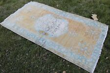 "Vintage Handwoven Turkish Orange Turquoise Rug 72""x37"""