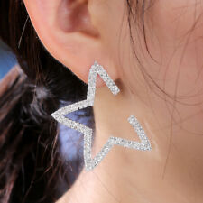 Fashion Star Stud Earrings Women Silver,Gold,Rose Gold White Sapphire Jewelry