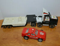 VINTAGE REMCO POLICE SEMI TRUCK TRACTOR TRAILER & FIRE CAR 1987 1989 DIECAST