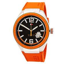 Tommy Hilfiger 1790726 Men's Black Dial Orange Silicon Band Watch