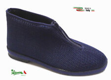 Pantofole ciabatte scarpe alte uomo cerniera estive italiane tessuto comode BLU