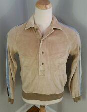 Vintage 70s Velvet Velour Hippie Surf Stripe Retro Atomic Shirt Disco Dance M