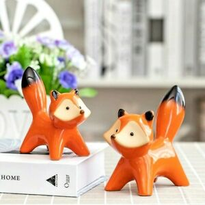 Ceramic Couple Fox Miniature Figurine Sculpture Tabletop Home Office Decoration