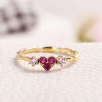 Eg _ Exquisite Liebe Herz Strass Ring Hochzeit Verlobung Schmuck Geschenk