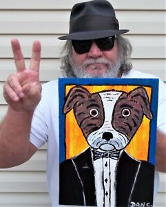 Brindle Pit Bull Dog Tuxedo Dog Dan C Outsider Folk Art Folk Art Painting
