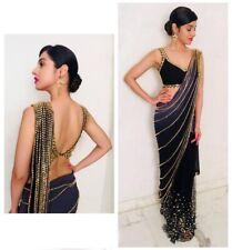 Saree Georgette Sari Wear Party Indian Blouse Bollywood Designer Wedding Ethnic