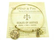 Wind and Fire Scales Of Justice Charm Wire Bangle Stackable Bracelet Made USA
