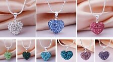 """925 Sterling Silver Necklace with SHAMBALLA CRYSTAL HEART PENDANT 17"""" Chain"""