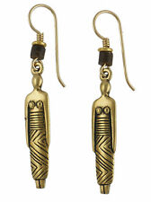 * NEW * Laurel Burch WOMAN Antiqued Gold Over Pewter Tribal Retired Earrings