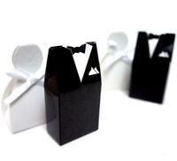 100 x Groom Black Tuxedo & Bride White Dress Wedding Bomboniere Lolly Box Favor