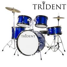 Trident Complete Starte 5 Piece Junior 16'' Drum Set w/ Cymbals Drumsticks Blue
