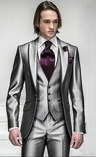 Slim Fit Silver Grey Satin Groom Tuxedos Best Man Groomsmen Men Wedding Suits