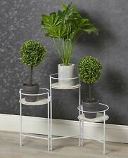 More details for white metal and wood 3 tier plant pot stand flowers greener indoors display item