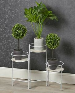 White Metal and Wood 3 Tier Plant Pot Stand Flowers Greener Indoors Display Item