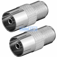 2 x FEMALE COAX to F TYPE FEMALE SCREW SOCKET TV Aerial Sky Connector Adapter