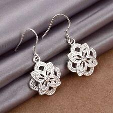 Women Fashion Jewelry 925 Sterling Silver Plated Flower Dangle Hook Earrings TM