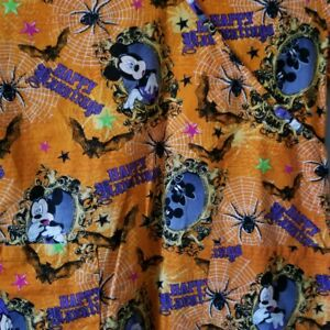Disney Mickey Mouse Small Orange Scrubs Top Happy Hauntings Halloween Spider