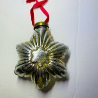 Christmas Ornament Silver Glass Star With Red Ribbon
